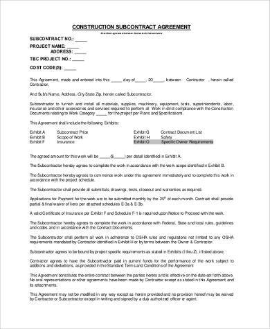 Sample Subcontractor Agreement Forms   Free Documents In Word Pdf
