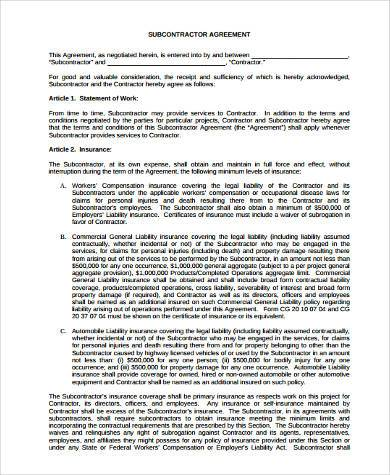 subcontractor construction agreement form1