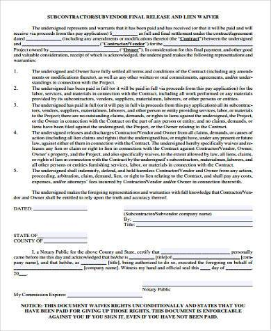 subcontractor lien waiver form