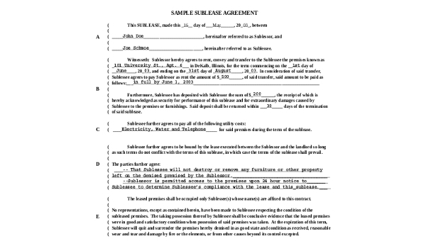 Sublease Agreement Form Sample 9 Free Documents In Word Pdf