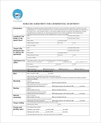 sublease apartment agreement form