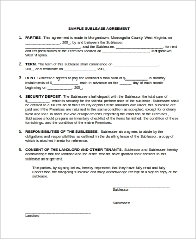vehicle sublease agreement template sublease agreement form sample 9 free documents in word
