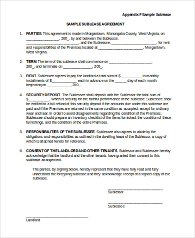 Sublease Contract Samples   Free Documents In Word Pdf