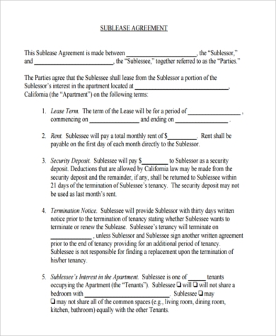 Room For Rent Contract Free California Monthly Rental Agreement Pdf