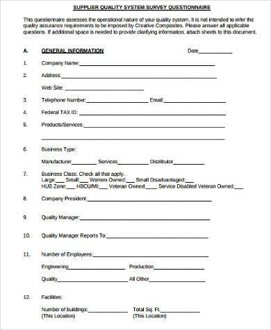 questionnaire sample for company