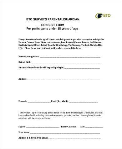 survey parental consent form