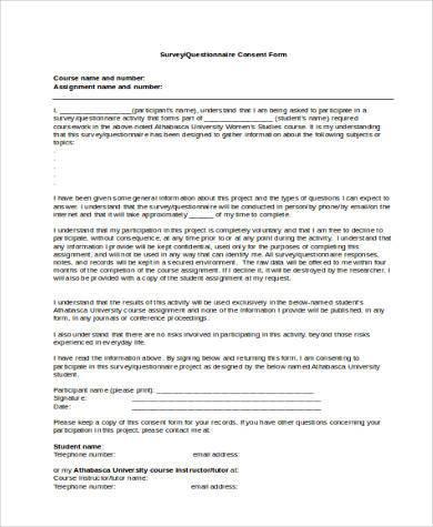 survey questionnaire consent form