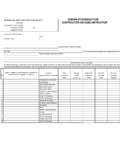 sworn construction statement form
