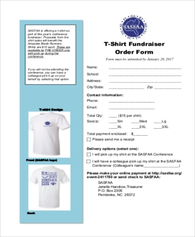 TShirt Order Form Sample   Free Documents In Pdf