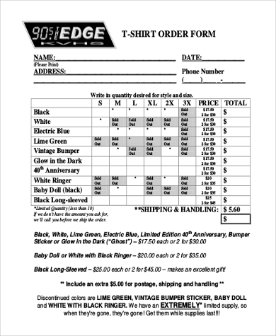 T-Shirt Order Form Sample - 7+ Free Documents in PDF