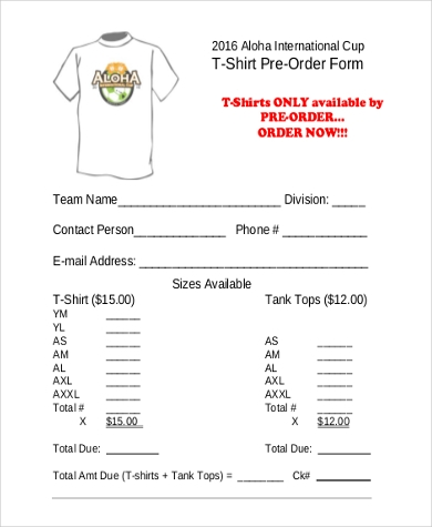 t shirt pre order form template  FREE 7+ T-Shirt Order Forms | PDF