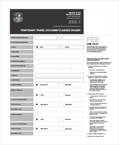 temporary travel document