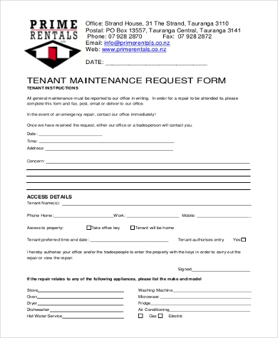 tenant maintenance request form