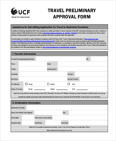 travel preliminary approval form