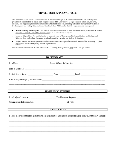 travel tour approval form