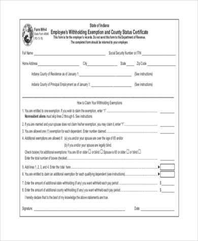 Sample Employee Tax Forms   Free Documents In Word Pdf