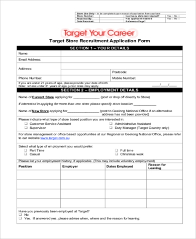 target printable job application