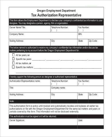 tax authorization representative form