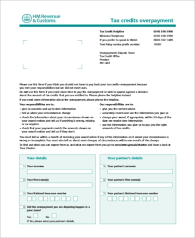 tax credit overpayment dispute form