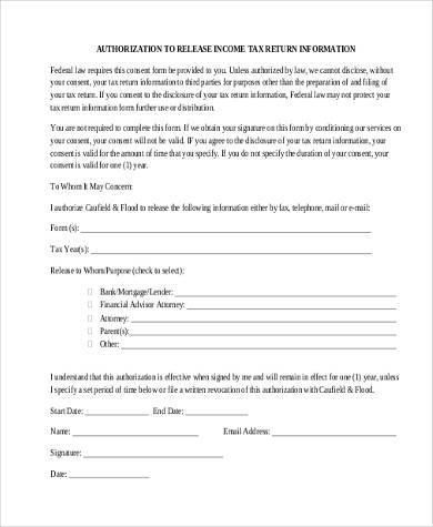tax return authorization form