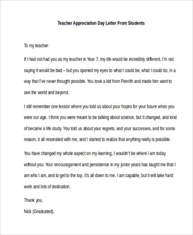 Teacher Appreciation Letters   Free Documents In Word Pdf