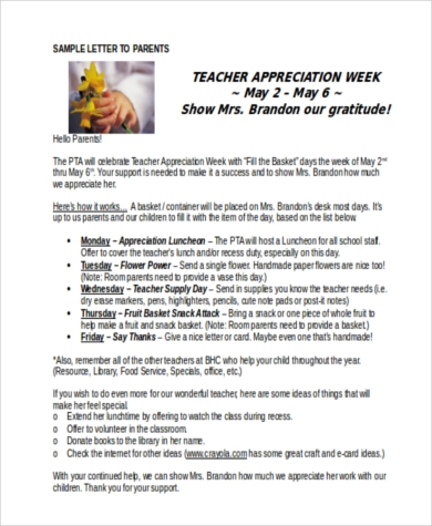 teacher appreciation week letter to parents