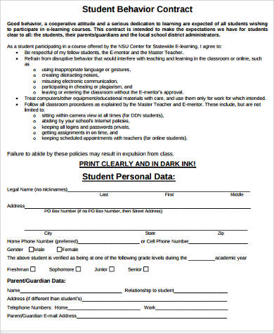 student teacher contract template - sample student behavior contract forms 9 free documents