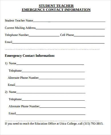 Emergency Contact Form Emergency Contact Form Student Group
