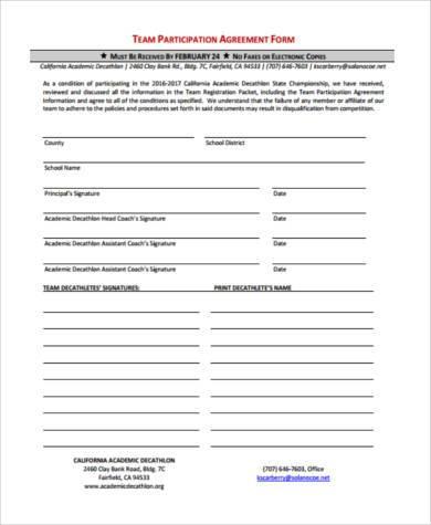 team participation agreement form