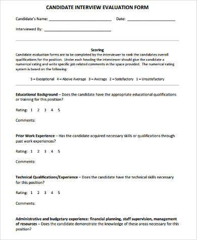Sample Technical Evaluation Forms   Free Documents In Word Pdf