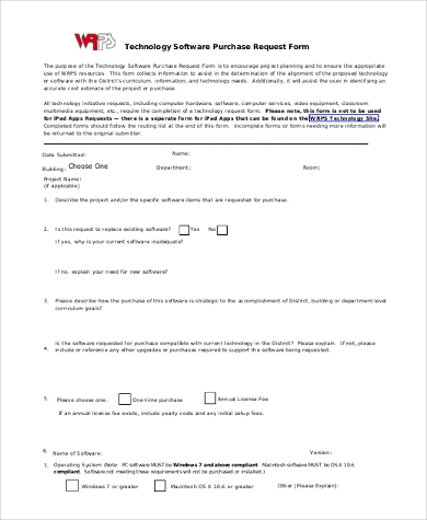 technology software purchase request form
