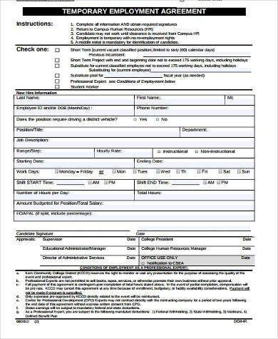 Sample employment agreement forms 9 free documents in for Temporary employment contract template free
