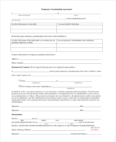 Sample Legal Guardian Forms   Free Documents In Word Pdf