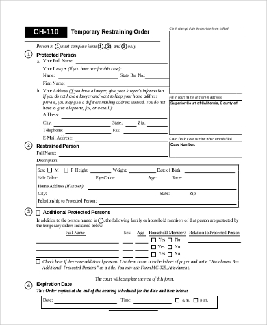 Sample Restraining Order Form   Free Documents In Examples