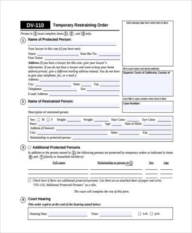 temporary restraining order form1