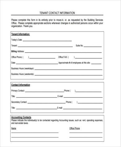 Contact Information Form Update Contact Information Form Sample