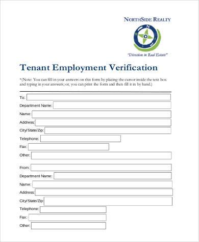 tenant employment verification form2