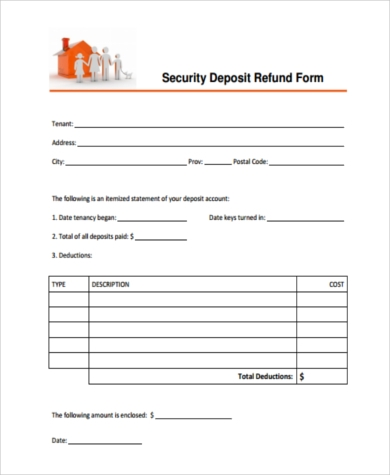 Security deposit refund form samples 8 free documents in word pdf tenant security deposit refund form thecheapjerseys Images