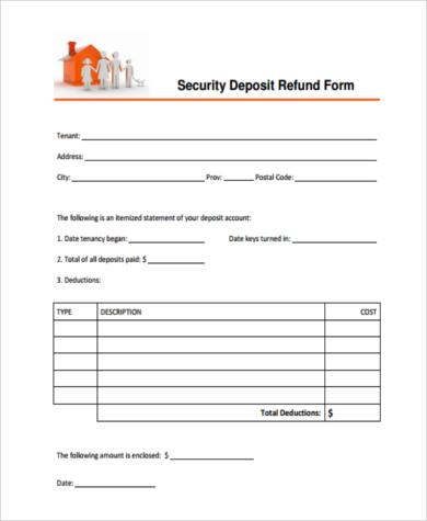 tenant security deposit refund form