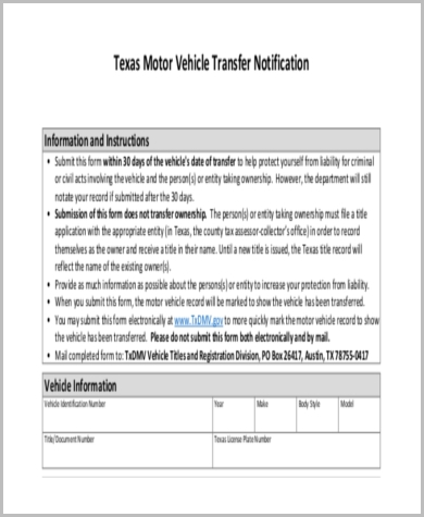 Vehicle transfer texas vehicle ideas for Motor vehicle transfer form