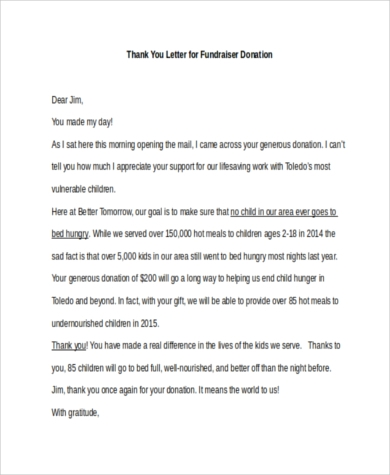 Thank You Letters For Donations   Free Documents In Word Pdf