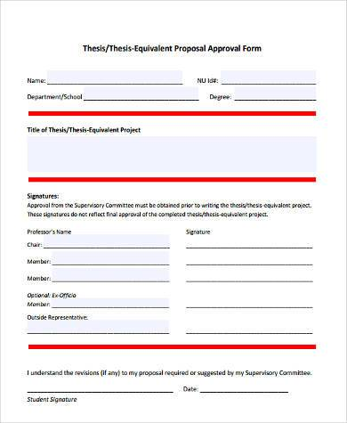 thesis proposal approval form
