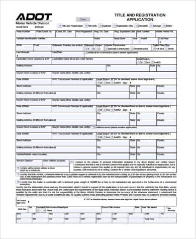 title transfer application form