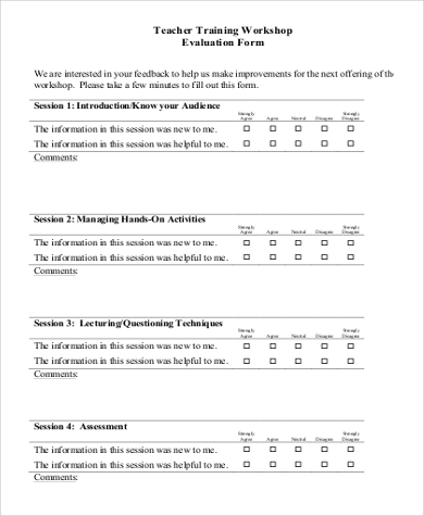 Delightful Teacher Training Workshop Evaluation Form