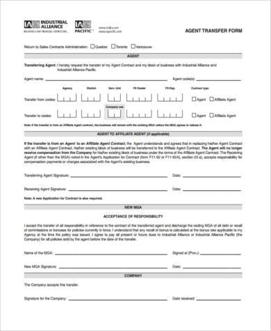 transfer agent agreement form