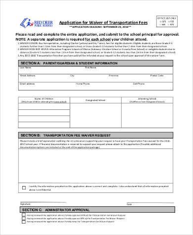 transportation fee waiver form