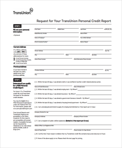 Superbe Transunion Annual Credit Report Form