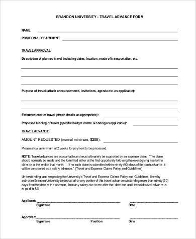 travel advance form example