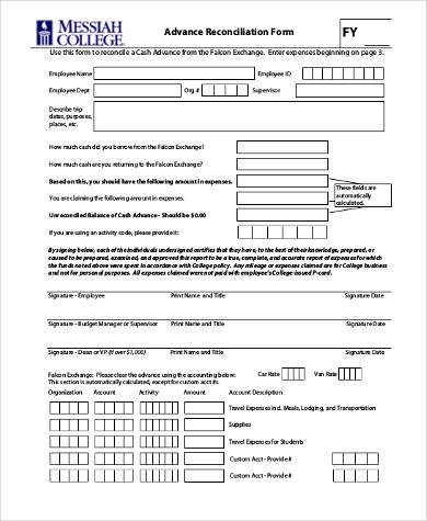 travel advance reconciliation form