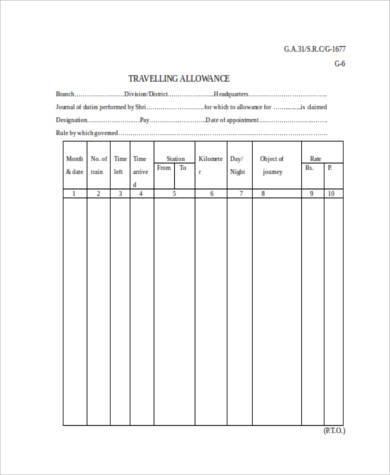 travel allowance form in word format